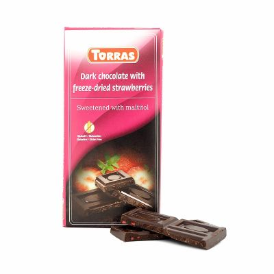 Torras Dark chocolate with freeze-dried strawberries, 75 g