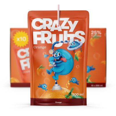Crazy Fruits Orange, 200 ml x10