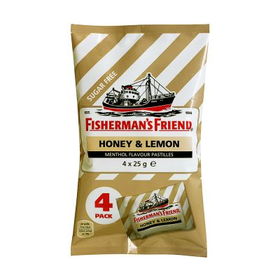 Fisherman's Friend Honey & Lemon Sockerfri, 25 g x4