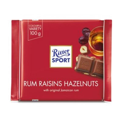 Ritter Sport Rom Russin Hasselnöt, 100 g